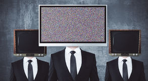 Obsolete and modern TV headed businessmen vector illustration