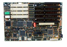 Obsolete Motherboard. Showing memory and expansion slots Royalty Free Stock Photography
