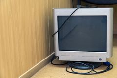 Obsolete old computer monitor. Retro used computer Stock Images