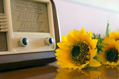 Obsolete radio in wooden case. Horizontal indoors shot Stock Images