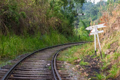 Obsolete railroad in Sri Lanka. Old and obsolete railroad track still used in the hill region of Sri Lanka, connecting Colombo to Kandy, Nuwara Elyia, Haputale Stock Photos