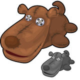 Obsolete soft toy brown dog with rough stitches Royalty Free Stock Image