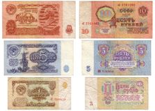 Obsolete Soviet paper money isolated Royalty Free Stock Images