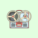Obsolete tape recorder with two bobbins. Vector lineart illustra Royalty Free Stock Photo