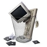 Obsolete technology, keyboard CPU and monitor Stock Photos