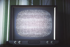 Obsolete TV with empty screen front Stock Images
