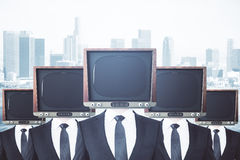Obsolete TV headed businessmen vector illustration