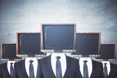 Obsolete TV headed businessmen royalty free illustration
