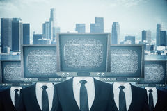 Obsolete TV headed businesspeople vector illustration