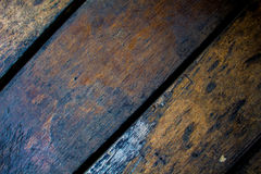 Obsolete wood board closeup. Rough lumber surface. Stock Photo