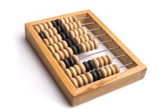 Obsolete wooden abacus. White background Royalty Free Stock Photo