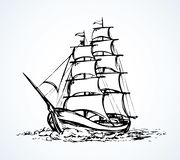 Sailing vessel. Vector drawing. Obsolete wooden classic tall buccaneer sailfish isolated on white backdrop. Freehand outline ink drawn picture icon sketchy in vector illustration