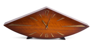 Obsolete wooden clock Stock Photo