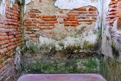 Obsoleted Old Brick Wall. Stock Photo