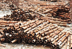 Obsoleted pipes. Obsoleted steel pipes at warehouse Royalty Free Stock Images