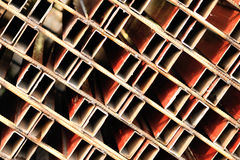 Obsoleted pipes. Obsoleted steel pipes at warehouse Royalty Free Stock Photography