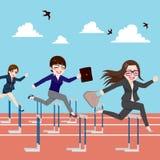 Obstáculo de salto da competição das mulheres de negócios ilustração stock