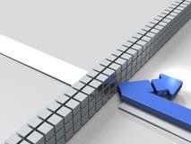 Obstáculos al curso La flecha da vuelta detrás Representa el abandono stock de ilustración