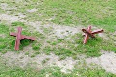 Obstáculos anti-tanques no campo de batalha Imagem de Stock Royalty Free
