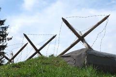 Obstáculos antitanques, línea de Stalin, Minsk, Bielorrusia Fotografía de archivo libre de regalías