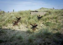 Obstáculos de la defensa de playa de Utah Fotos de archivo libres de regalías