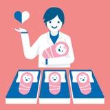 Obstétrico del doctor con los bebés, stock de ilustración