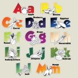 Obst- und Gemüse Alphabet von A zu M Stockfoto