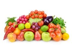 Obst und Gemüse auf einem weißen Hintergrund Stockfotos