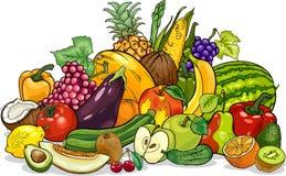 Obst- und Gemüse Gruppenkarikaturillustration Stockfotos