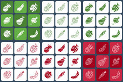Obst- und Gemüse Ikonen Lizenzfreie Stockfotos