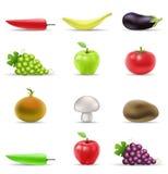 Obst und Gemüse Ikonen Lizenzfreie Stockfotografie