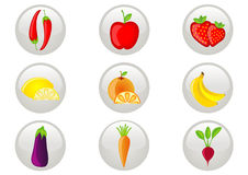 Obst und Gemüse Ikonen-Set Lizenzfreie Stockbilder