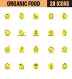 Obst- und Gemüse Linie Ikonensatz Stockfotos