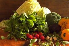 Obst und Gemüse mögen Tomaten, gelben grünen Pfeffer, Brokkoli, die Petersilie, die in einer Gruppe, natürliches Stillleben für g Lizenzfreies Stockbild