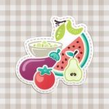 Obst und Gemüse mit karierter Tischdecke Stockfotos