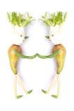 Obst- und Gemüse Personen, die Händedruck machen Stockbild