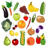 Obst- und Gemüse Set Stockbild