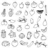 Obst und Gemüse skizzieren Vektor im schwarzen Gekritzel auf weißem Hintergrund Stockbild