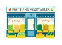 Obst und Gemüse speichern flache Vektorillustration der Fassade Lizenzfreies Stockbild