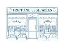 Obst und Gemüse speichern gezeichnete Vektorillustration der Fassade Hand Lizenzfreie Stockbilder