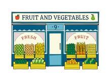 Obst und Gemüse speichern gezeichnete Vektorillustration der Fassade Hand Stockbild