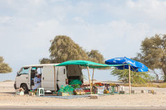 Obst und Gemüse Verkäufer in Muscat, Oman Stockbilder