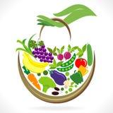 Obst- und GemüseKorb lizenzfreie abbildung
