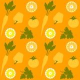 Obst- und Gemüsenahtloses Vektor-Muster Lizenzfreie Stockfotos