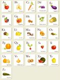 Obst- und Gemüse Alphabetkarten Lizenzfreie Stockbilder