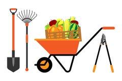 Obst und Gemüse in der Schubkarrevektorillustration Stockbild