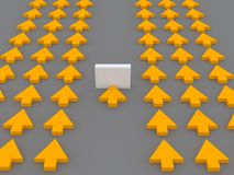Obstacle. 3d rendered image representing a group of arrows. One is stopped by an obstacle. Business or career concept Royalty Free Stock Image