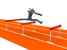 Obstacle Business vol 2. 3d Businessman jumping over obstacles royalty free illustration