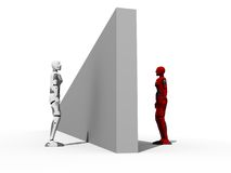 Obstacle in communication. Crasr test dummies isolated with a obstacle Stock Images