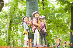 The obstacle course in adventure park Royalty Free Stock Photo